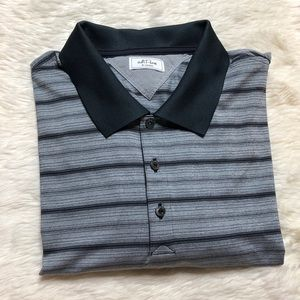 Adidas Adi Pure Gray Striped Polo Golf Shirt